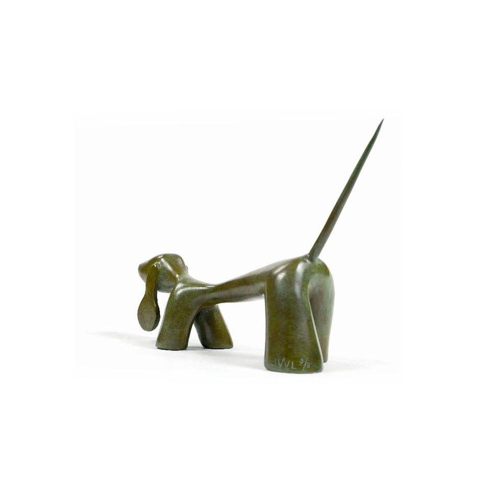 Petit Chercheur, sculpture de chien en bronze par l'artiste sculpteur Lolek