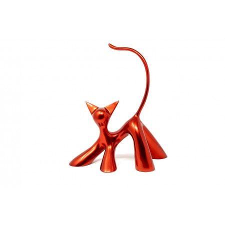 La brioche, sculpture de chat debout en résine rouge