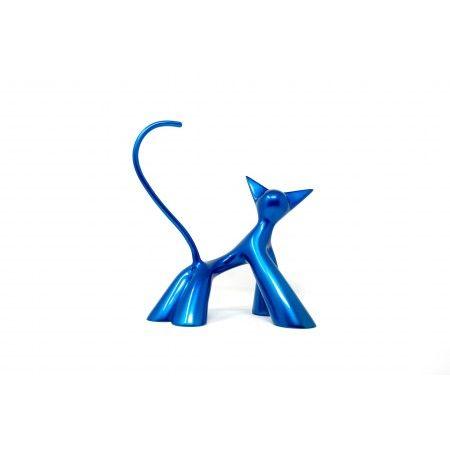 La bobine, sculpture de chat espiègle en résine bleue