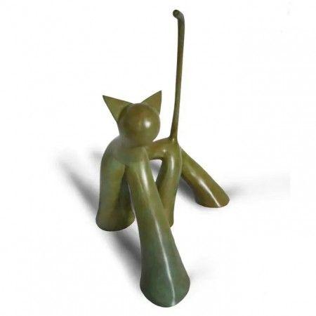 Twist, sculpture en bronze patiné de chat avec la queue dressée