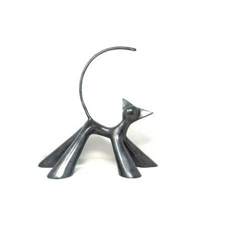 Cha'pardeur, sculpture en bronze patiné de chat coquin