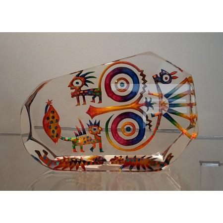 Imaginaire II, vue de face de la sculpture pièce unique en verre contemporain par l'artiste verrier