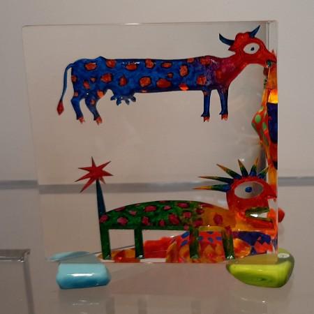 Imaginaire IV vue du deuxième côté de la pièce unique de sculpture en verre contemporain par l'artiste verrier