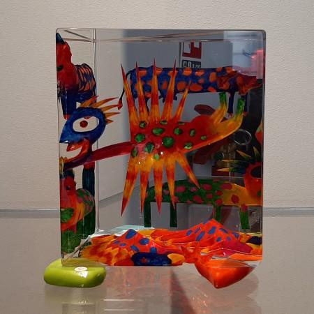 Imaginaire IV vue du troisième côté de la pièce unique de sculpture en verre contemporain par artiste verrier