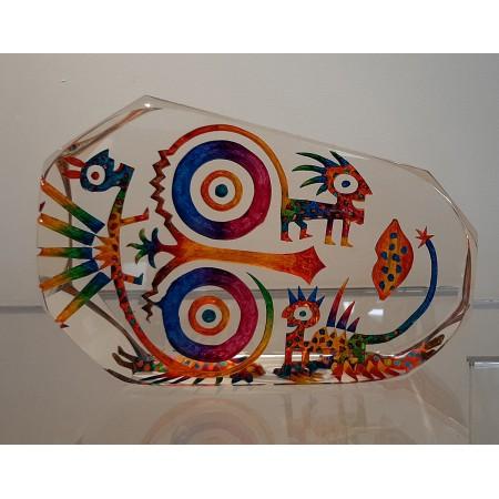 Imaginaire II, vue de dos de la pièce unique de sculpture en verre contemporain par artiste verrier