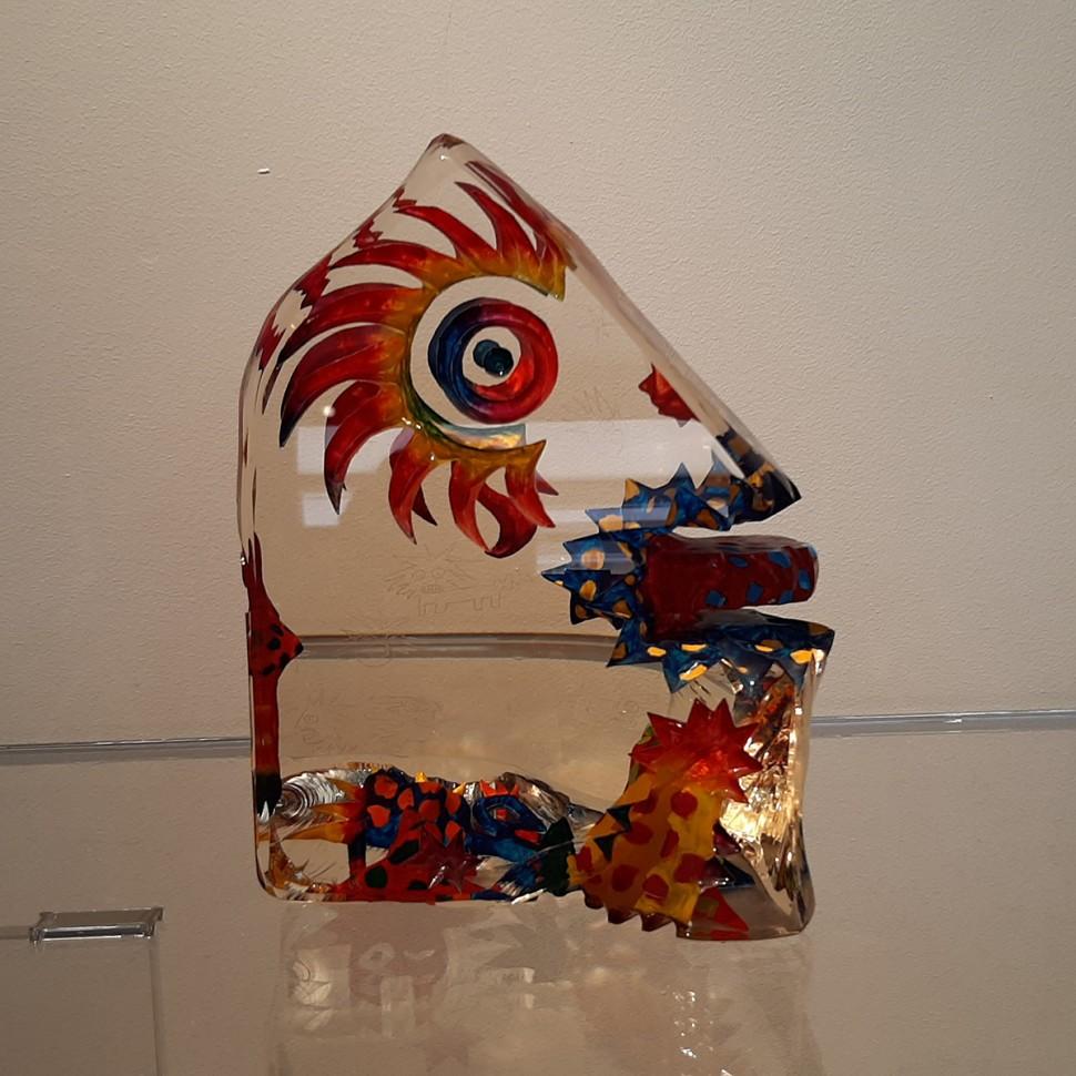 Imaginaire III vue de face de la sculpture en verre contemporain pièce unique par artiste verrier