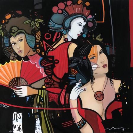 Peinture à l'huile sur toile graphique et colorée d''une parade de femmes élégantes à l'éventail