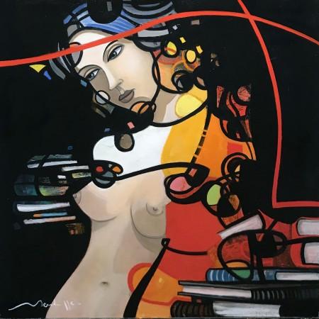 Peinture expressive à l'huile sur toile d'un buste féminin stylisé, graphique et coloré pourvu d'arabesques rouges