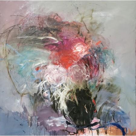 Peinture à l'huile sur toile représentant en une explosion de couleurs en mouvement un bouquet de fleurs dans un vase