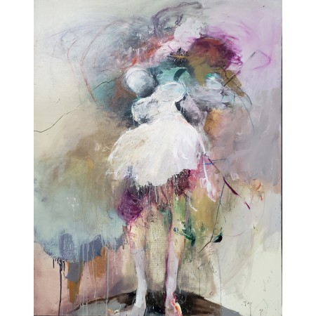 Peinture à l'huile sur toile suggérant par la couleur et le mouvement une danseuse ballerine à la robe blanche