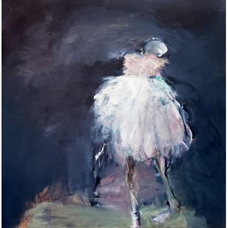 Peinture à l'huile sur toile montrant par des couleurs claires sur un fond sombre une danseuse ballerine à la robe blanche
