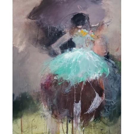 Peinture à l'huile sur toile montrant une danseuse ballerine immobile à la robe de couleur verte émeraude