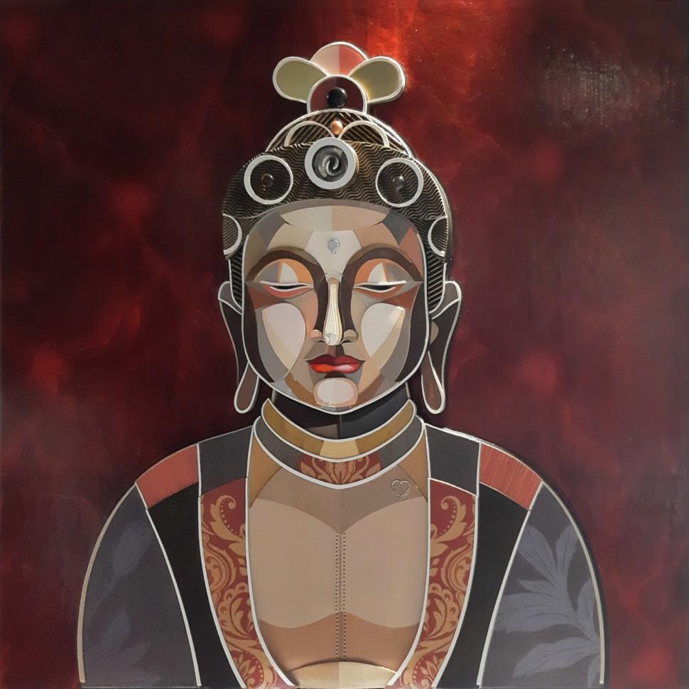 Boudha, tableau de peinture en relief et trois dimensions de l'artiste plasticien Abélardo
