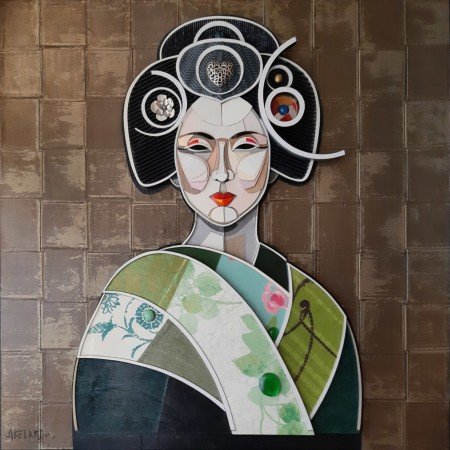 Geisha peinture en relief mix-media en trois dimensions d'une femme japonaise par l'artiste plasticien Abélardo