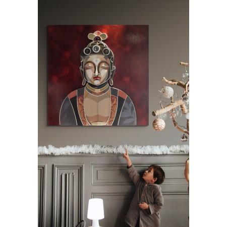 Intérieur avec tableau représentant  Boudha, en relief et trois dimensions de l'artiste plasticien Abélardo