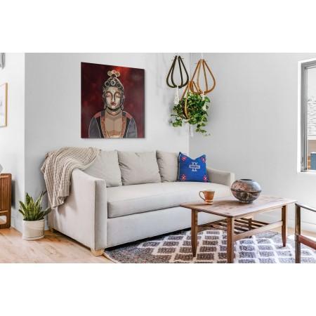 Scène d'Intérieur avec tableau montrant Boudha, en relief par l'artiste plasticien Abélardo