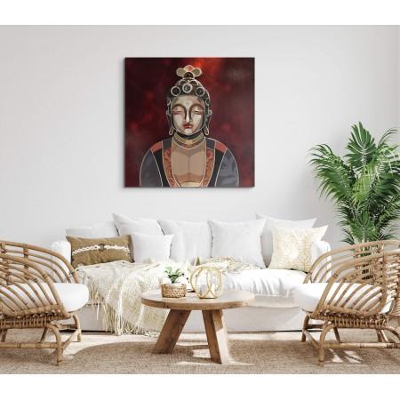 Scène d'un intérieur avec un tableau n relief représentant Boudha, par l'artiste Abélardo