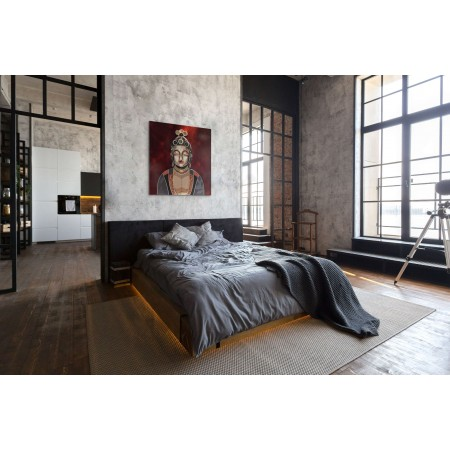 Chambre avec un tableau de Boudha en relief et trois dimensions par l'artiste Abélardo