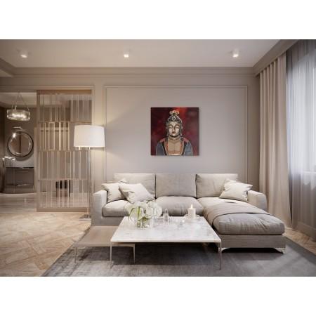 Pièce de séjour avec un tableau de Boudha en relief comme une sculpture murale par l'artiste plasticien Abélardo