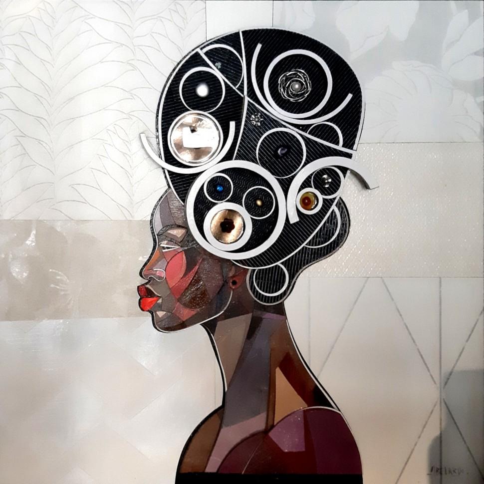 Portrait de Reine Africaine, œuvre de peinture en relief et trois dimensions mix media par l'artiste Abélardo
